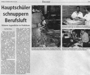 Hauptschüler schnuppern Berufsluft - Pressespiegel